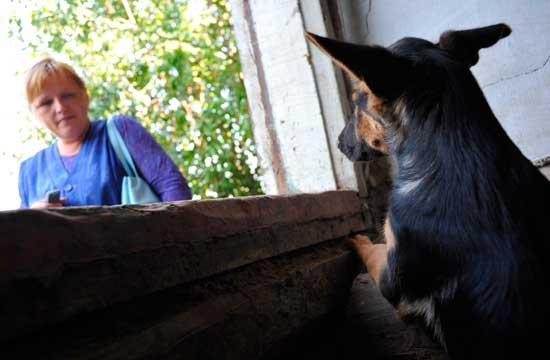Корреспондент Ирина Капсалыкова закомится со щенком